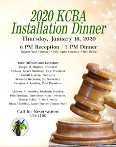 2020 Installation Dinner @ Bakersfield Country Club